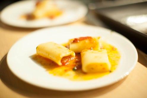 . Paccheri al Pomodoro, origano fresco. Thick durum wheat pasta with an oven dried tomato sauce.